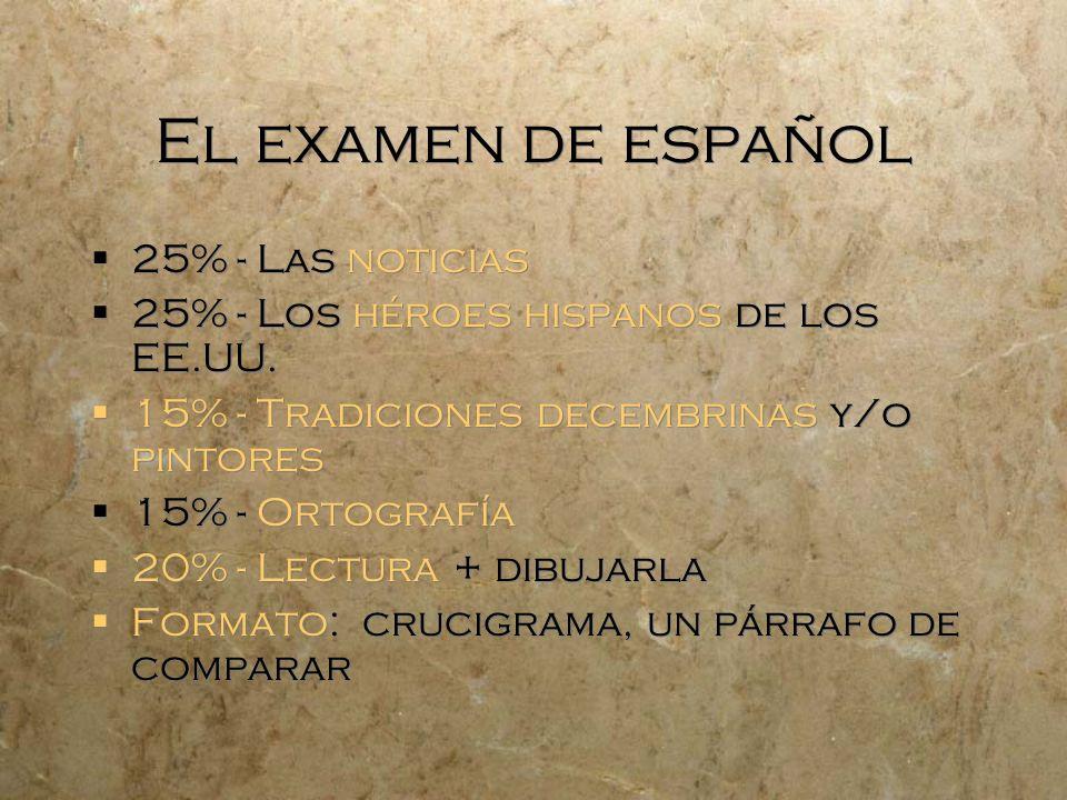 El examen de español 25% - Las noticias 25% - Los héroes hispanos de los EE.UU. 15% - Tradiciones decembrinas y/o pintores 15% - Ortografía 20% - Lect