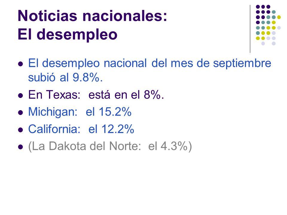 Noticias nacionales: El desempleo El desempleo nacional del mes de septiembre subió al 9.8%.