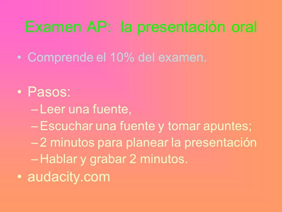 Examen AP: la presentación oral Comprende el 10% del examen.