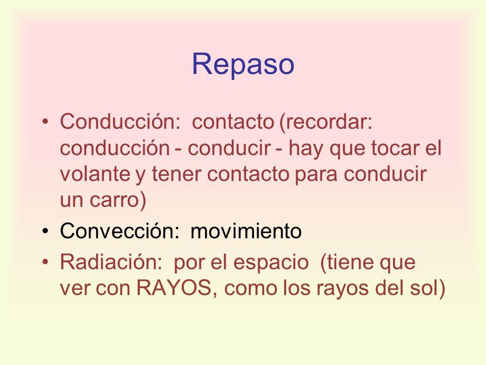 Repaso Conducción: contacto (recordar: conducción - conducir - hay que tocar el volante y tener contacto para conducir un carro) Convección: movimient