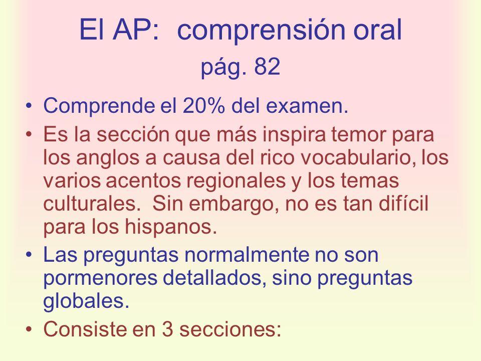 El AP: comprensión oral pág. 82 Comprende el 20% del examen. Es la sección que más inspira temor para los anglos a causa del rico vocabulario, los var