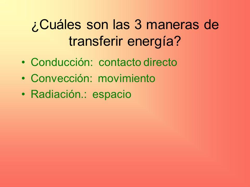 ¿Cuáles son las 3 maneras de transferir energía.