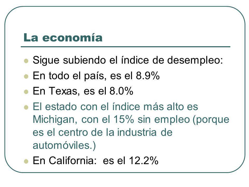 La economía Sigue subiendo el índice de desempleo: En todo el país, es el 8.9% En Texas, es el 8.0% El estado con el índice más alto es Michigan, con el 15% sin empleo (porque es el centro de la industria de automóviles.) En California: es el 12.2%