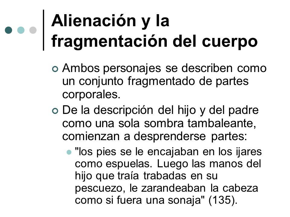 Alienación y la fragmentación del cuerpo Ambos personajes se describen como un conjunto fragmentado de partes corporales. De la descripción del hijo y