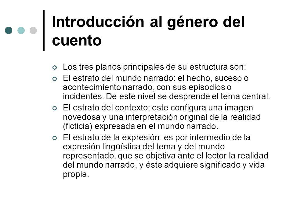 Introducción al género del cuento Los tres planos principales de su estructura son: El estrato del mundo narrado: el hecho, suceso o acontecimiento na