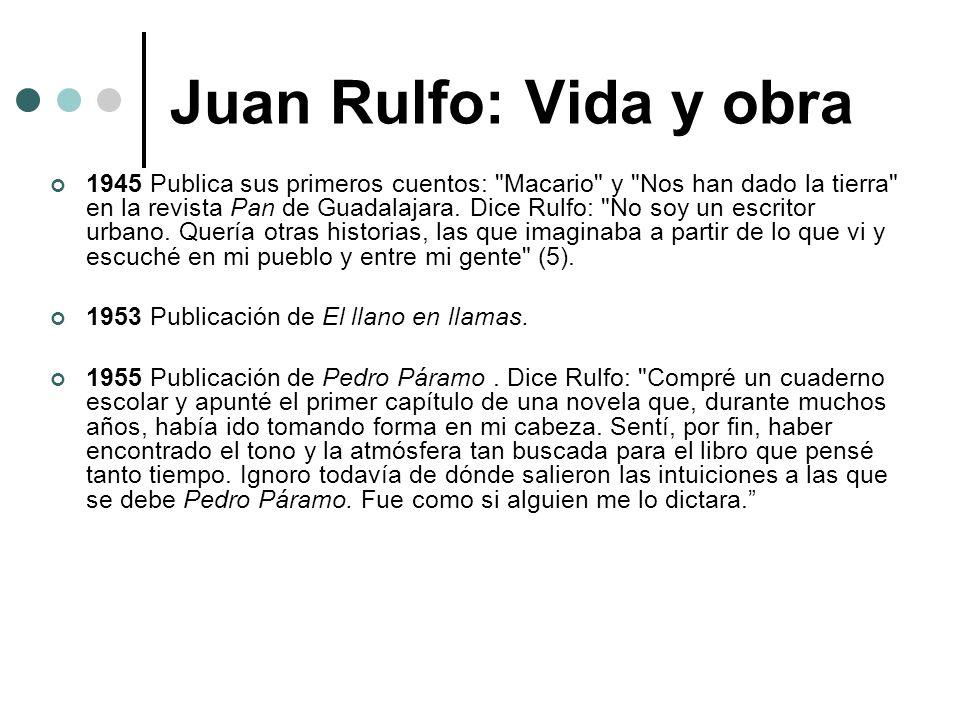 Juan Rulfo: Vida y obra 1945 Publica sus primeros cuentos: