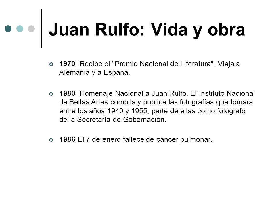 Temas y técnicas literarios de Rulfo La obra de Juan Rulfo se compone de dos volúmenes de narrativa, El llano en llamas (1953) y Pedro Páramo (1955), y de algunos argumentos y guiones para cine, El gallo de oro y otros textos para cine (1980).