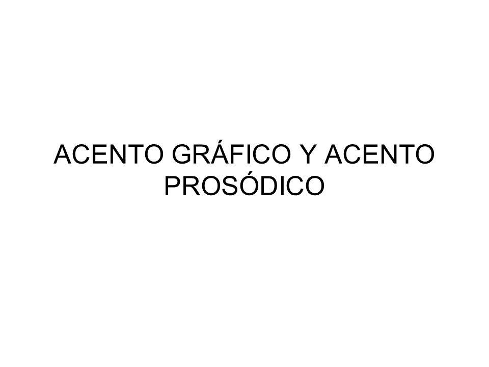 ACENTO GRÁFICO Y ACENTO PROSÓDICO
