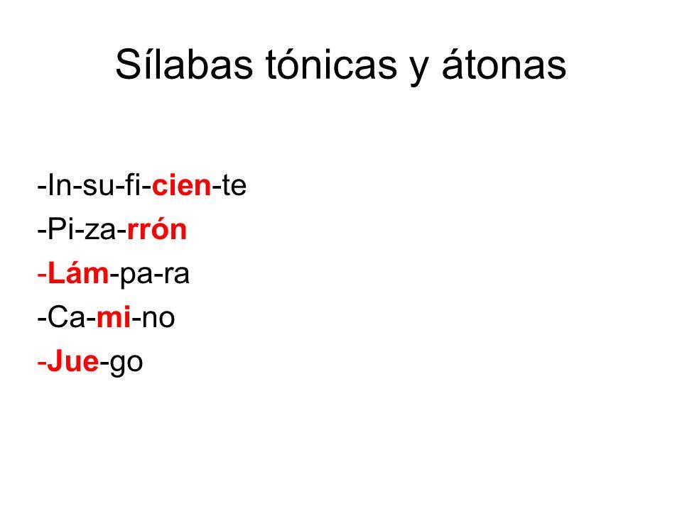 Sílabas tónicas y átonas -In-su-fi-cien-te -Pi-za-rrón -Lám-pa-ra -Ca-mi-no -Jue-go