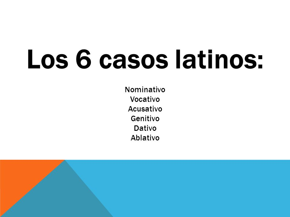 Los 6 casos latinos: Nominativo Vocativo Acusativo Genitivo Dativo Ablativo