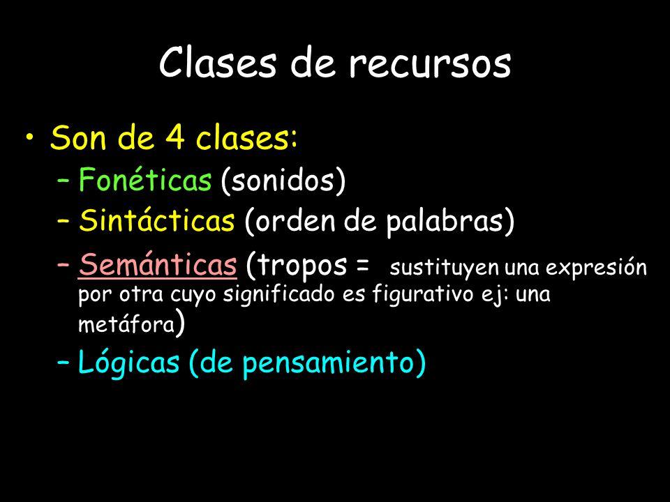 Clases de recursos Son de 4 clases: –Fonéticas (sonidos) –Sintácticas (orden de palabras) –Semánticas (tropos = sustituyen una expresión por otra cuyo