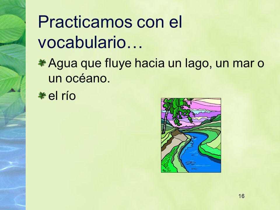 16 Practicamos con el vocabulario… Agua que fluye hacia un lago, un mar o un océano. el río