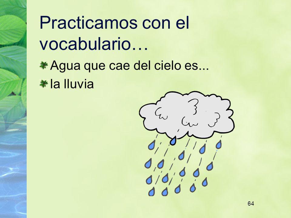 64 Practicamos con el vocabulario… Agua que cae del cielo es... la lluvia