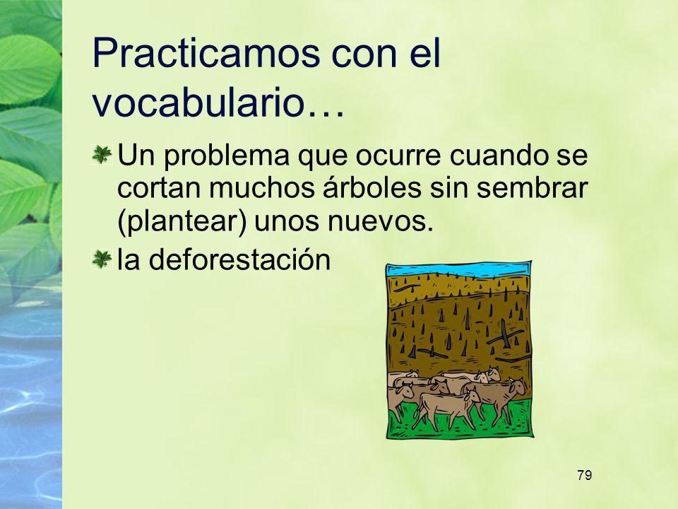 79 Practicamos con el vocabulario… Un problema que ocurre cuando se cortan muchos árboles sin sembrar (plantear) unos nuevos. la deforestación
