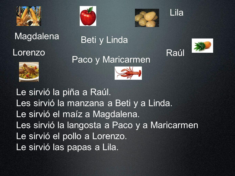 Magdalena Beti y Linda Lila Lorenzo Paco y Maricarmen Raúl Le sirvió la piña a Raúl.