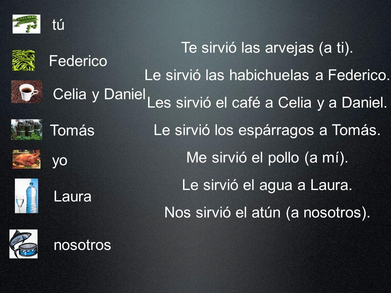 Laura Federico tú Tomás Celia y Daniel yo nosotros Te sirvió las arvejas (a ti).