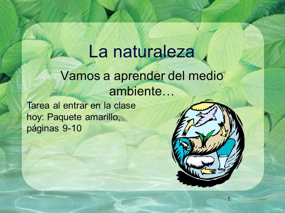 1 La naturaleza Vamos a aprender del medio ambiente… Tarea al entrar en la clase hoy: Paquete amarillo, páginas 9-10