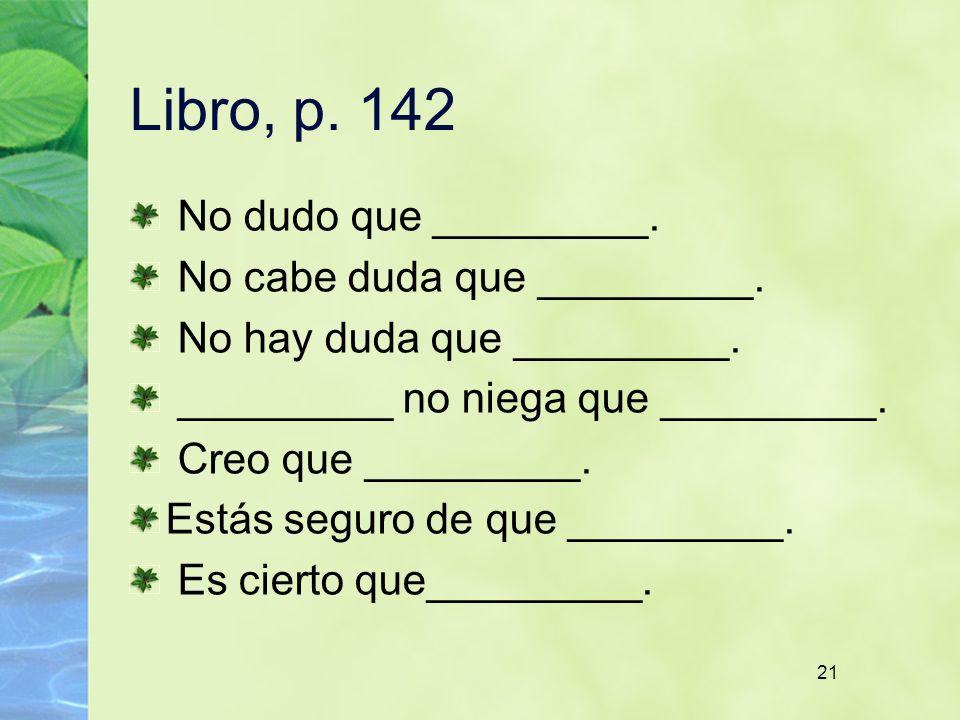 21 Libro, p. 142 No dudo que _________. No cabe duda que _________. No hay duda que _________. _________ no niega que _________. Creo que _________. E