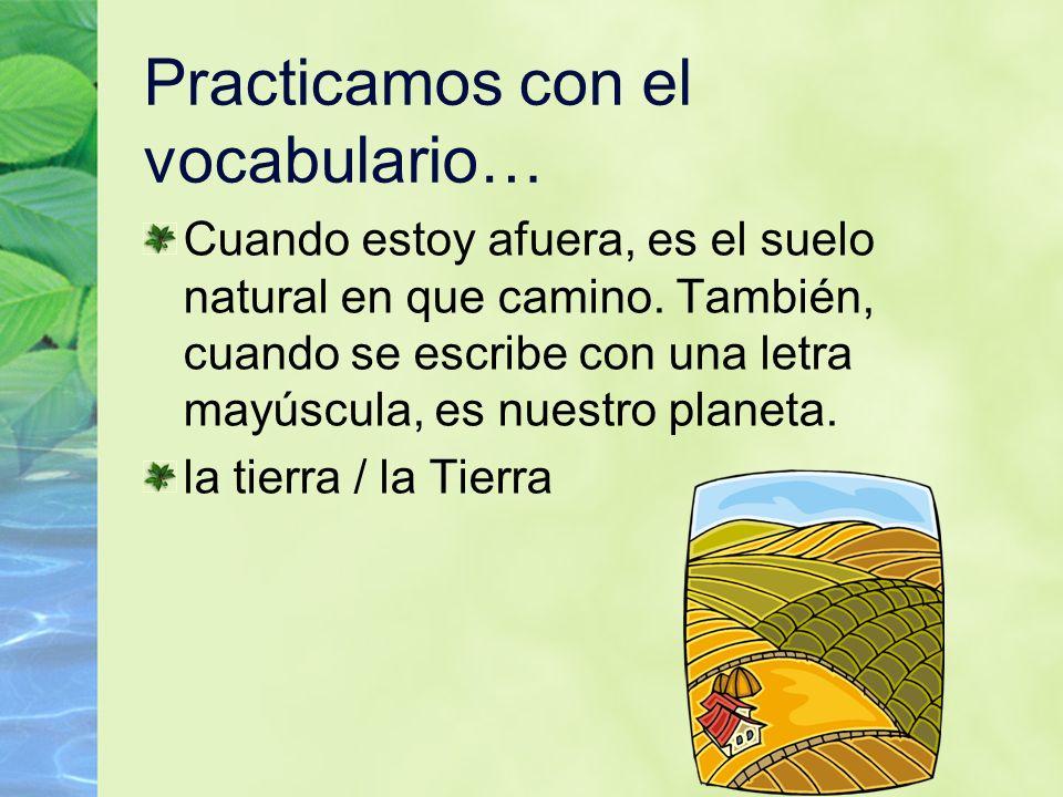 84 Practicamos con el vocabulario… Cuando estoy afuera, es el suelo natural en que camino. También, cuando se escribe con una letra mayúscula, es nues