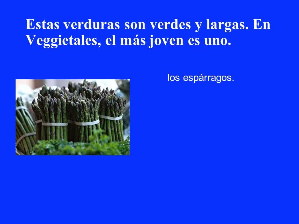 Estas verduras son verdes y largas. En Veggietales, el más joven es uno. los espárragos.