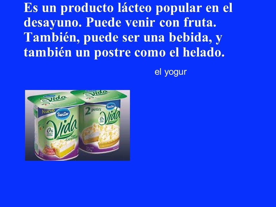 Es un producto lácteo popular en el desayuno. Puede venir con fruta. También, puede ser una bebida, y también un postre como el helado. el yogur