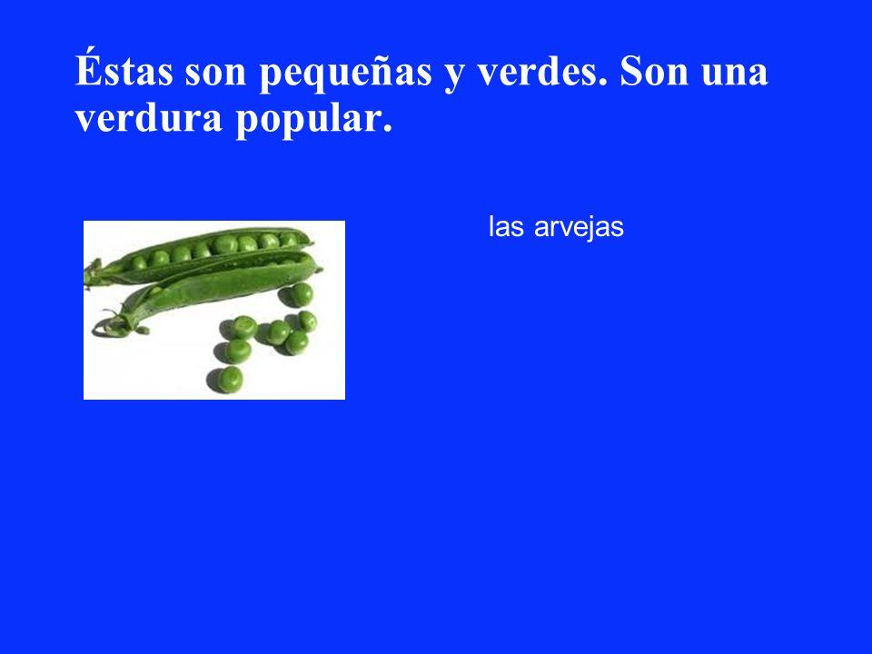 Éstas son pequeñas y verdes. Son una verdura popular. las arvejas