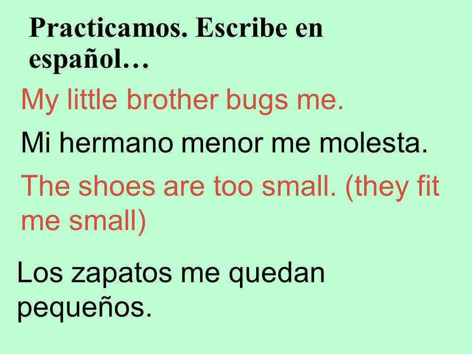Practicamos. Escribe en español… My little brother bugs me. Mi hermano menor me molesta. The shoes are too small. (they fit me small) Los zapatos me q