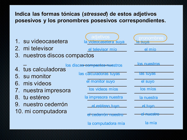 Indica las formas tónicas (stressed) de estos adjetivos posesivos y los pronombres posesivos correspondientes.
