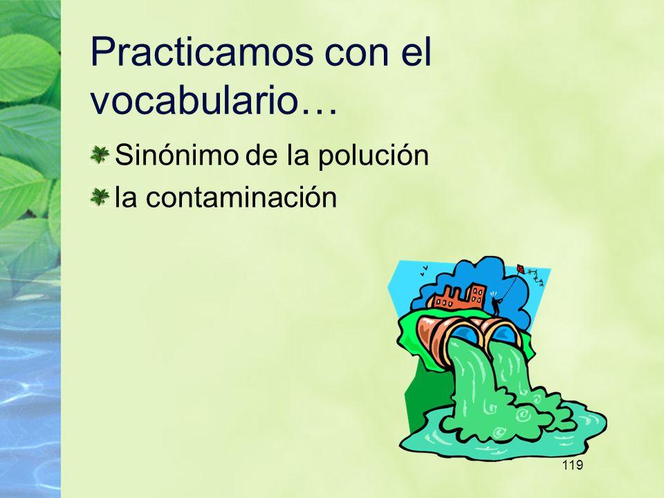 119 Practicamos con el vocabulario… Sinónimo de la polución la contaminación
