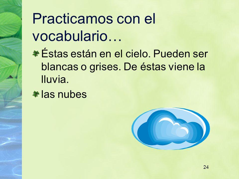 24 Practicamos con el vocabulario… Éstas están en el cielo.