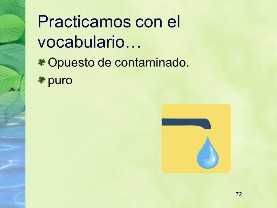 72 Practicamos con el vocabulario… Opuesto de contaminado. puro