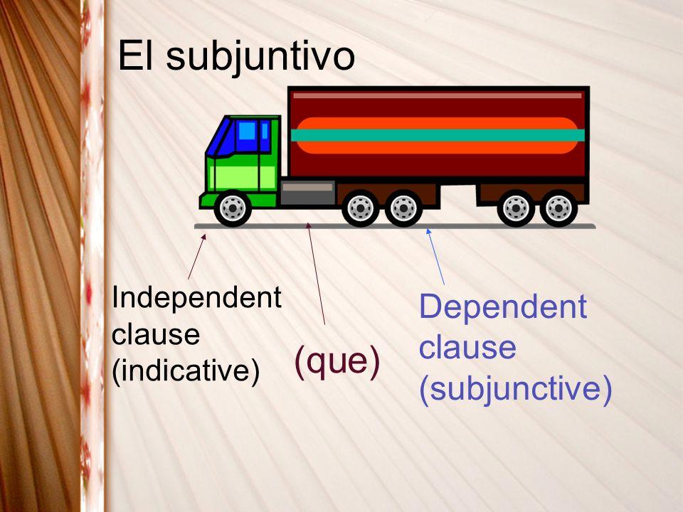 El subjuntivo Independent clause (indicative) (que) Dependent clause (subjunctive)