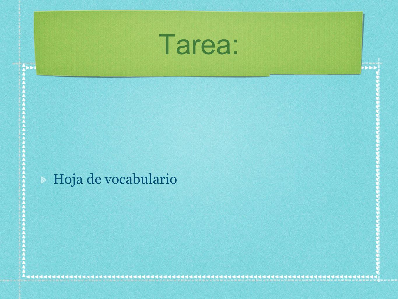 Tarea: Hoja de vocabulario