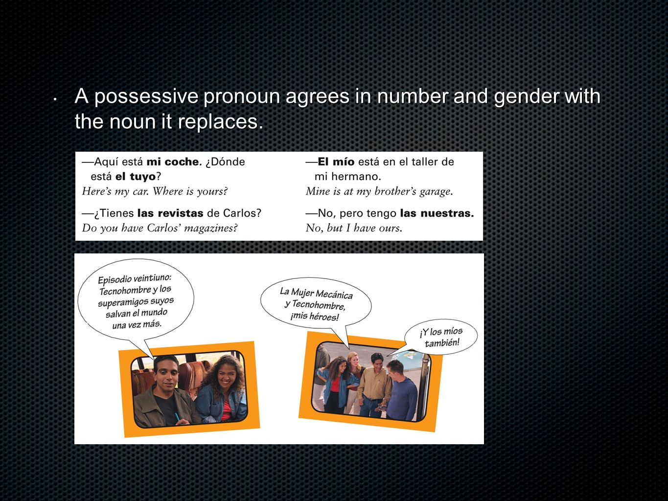A possessive pronoun agrees in number and gender with the noun it replaces. A possessive pronoun agrees in number and gender with the noun it replaces