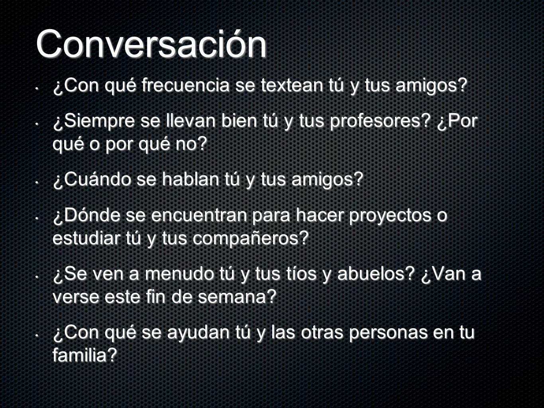 Conversación ¿Con qué frecuencia se textean tú y tus amigos? ¿Con qué frecuencia se textean tú y tus amigos? ¿Siempre se llevan bien tú y tus profesor