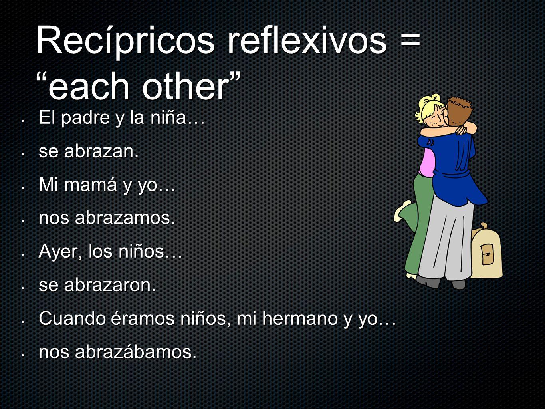 Recípricos reflexivos = each other El padre y la niña… El padre y la niña… se abrazan. se abrazan. Mi mamá y yo… Mi mamá y yo… nos abrazamos. nos abra