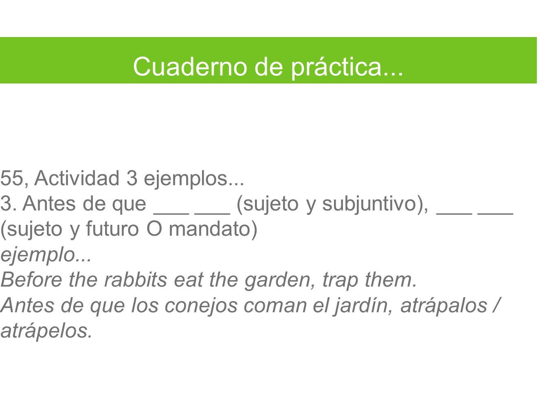 Cuaderno de práctica... 55, Actividad 3 ejemplos... 3. Antes de que ___ ___ (sujeto y subjuntivo), ___ ___ (sujeto y futuro O mandato) ejemplo... Befo