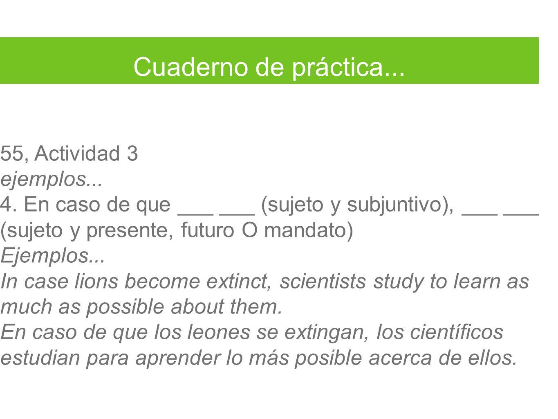Cuaderno de práctica... 55, Actividad 3 ejemplos... 4. En caso de que ___ ___ (sujeto y subjuntivo), ___ ___ (sujeto y presente, futuro O mandato) Eje