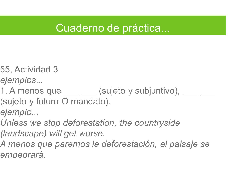 Cuaderno de práctica... 55, Actividad 3 ejemplos... 1. A menos que ___ ___ (sujeto y subjuntivo), ___ ___ (sujeto y futuro O mandato). ejemplo... Unle