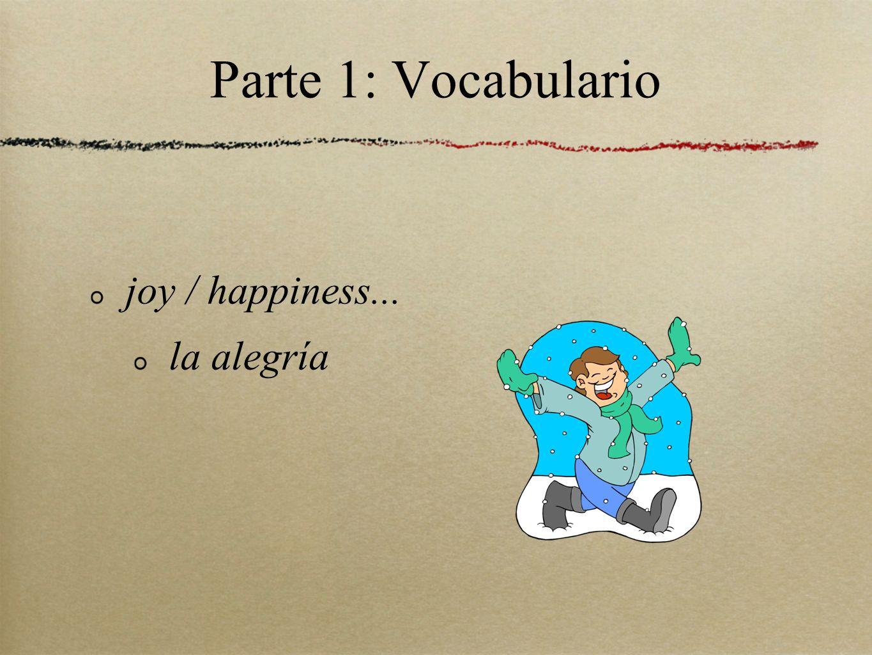 Parte 1: Vocabulario joy / happiness... la alegría