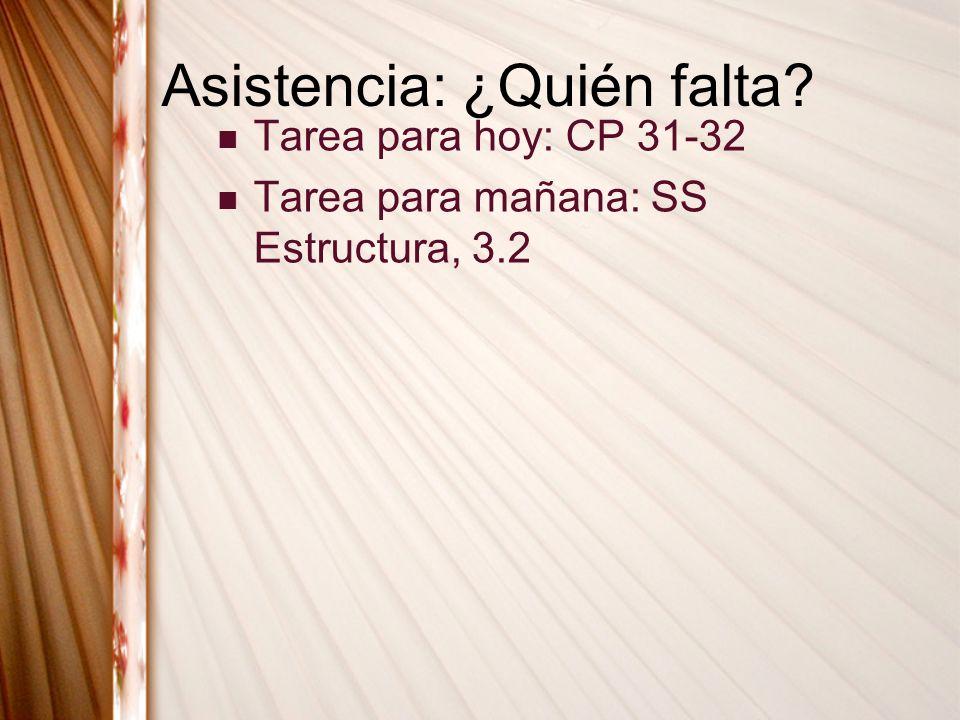 Asistencia: ¿Quién falta? Tarea para hoy: CP 31-32 Tarea para mañana: SS Estructura, 3.2