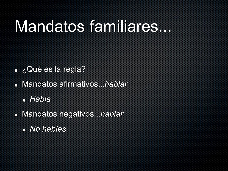 Mandatos familiares... ¿Qué es la regla? Mandatos afirmativos...hablar Habla Mandatos negativos...hablar No hables