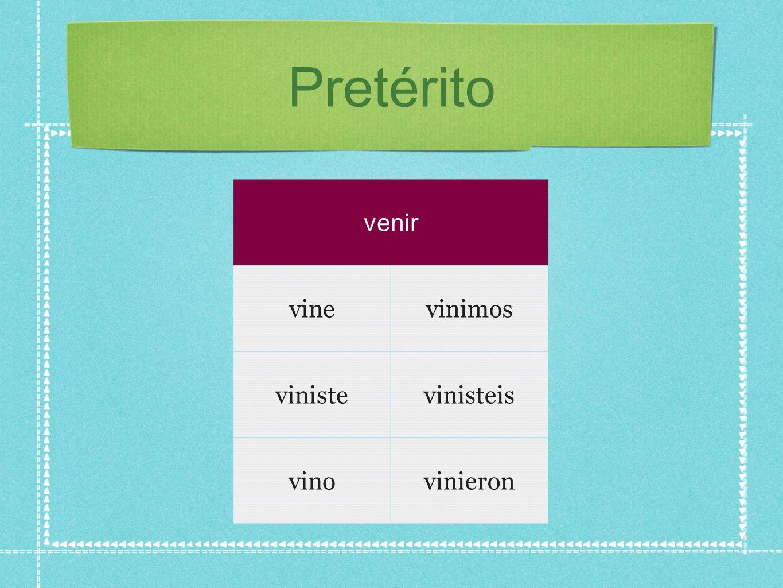 Pretérito venir vinevinimos vinistevinisteis vinovinieron