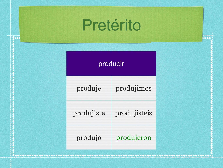Pretérito producir produjeprodujimos produjisteprodujisteis produjoprodujeron