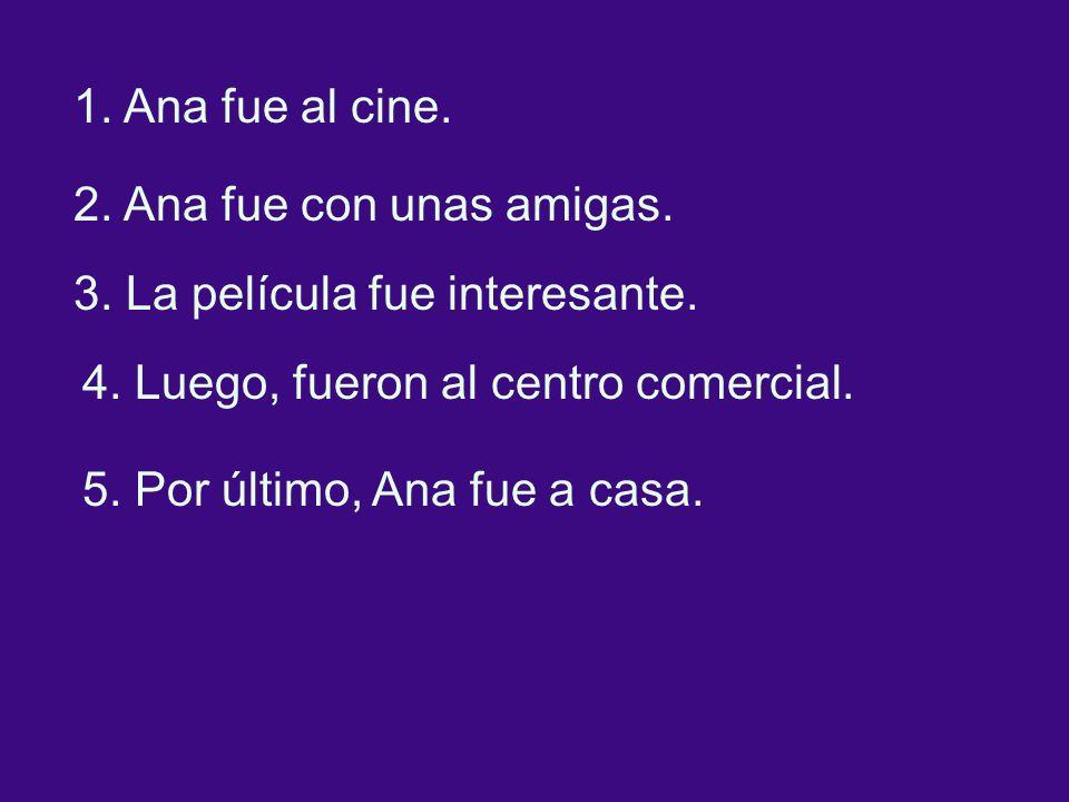 1. Ana fue al cine. 2. Ana fue con unas amigas.