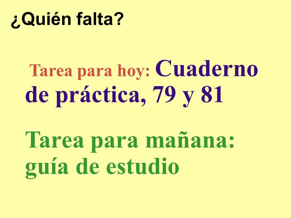 ¿Quién falta Tarea para hoy: Cuaderno de práctica, 79 y 81 Tarea para mañana: guía de estudio