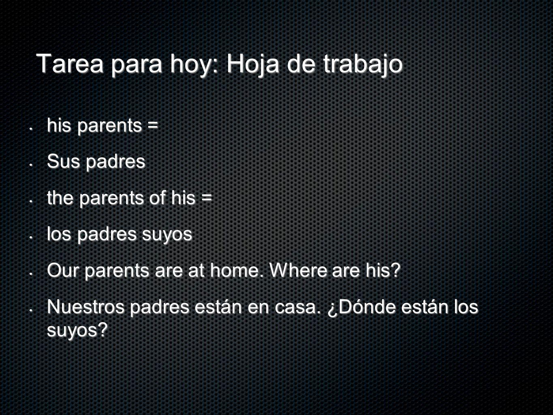 Tarea para hoy: Hoja de trabajo his parents = his parents = Sus padres Sus padres the parents of his = the parents of his = los padres suyos los padre