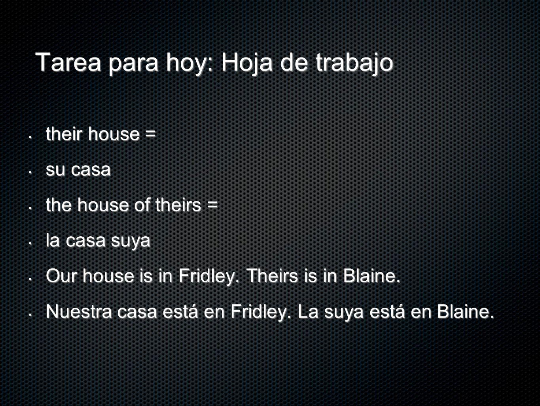Tarea para hoy: Hoja de trabajo their house = their house = su casa su casa the house of theirs = the house of theirs = la casa suya la casa suya Our