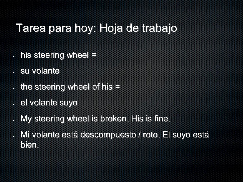 Tarea para hoy: Hoja de trabajo his steering wheel = his steering wheel = su volante su volante the steering wheel of his = the steering wheel of his