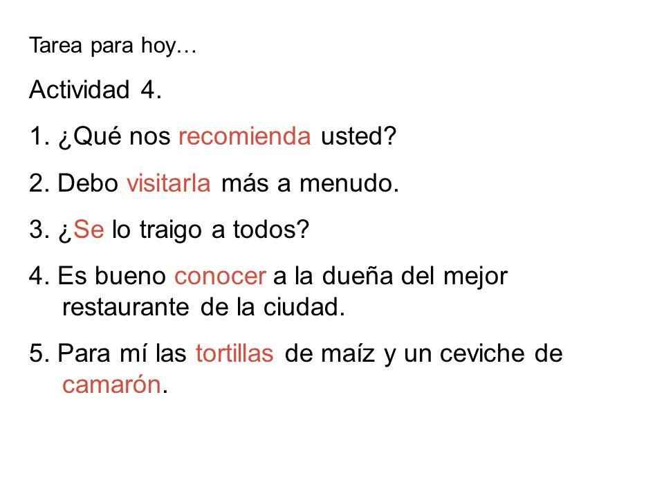 Tarea para hoy… Página 66 1.Sra. Perales (Doña Rita) 2.